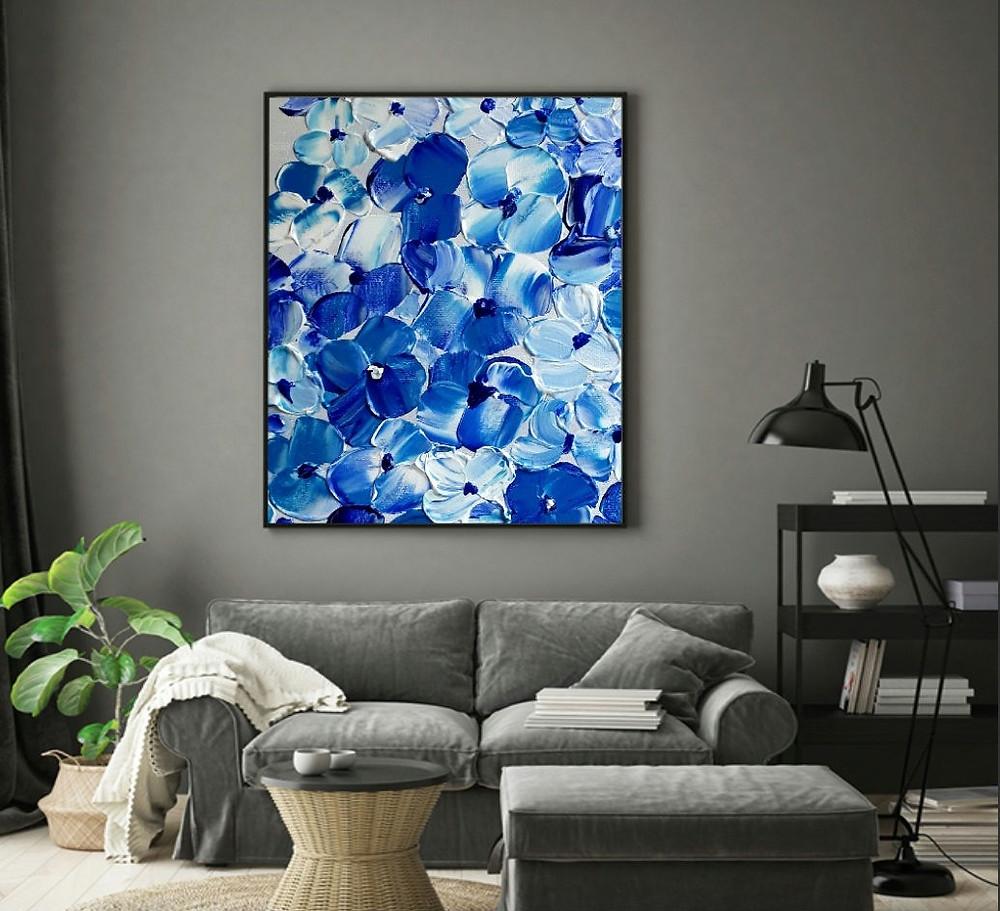 פריחה בכחול לבן, ציור בשפכטל