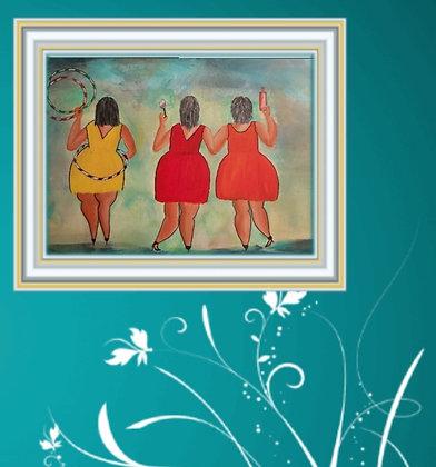 שלוש נשים גדולות רוקדות ושמחות