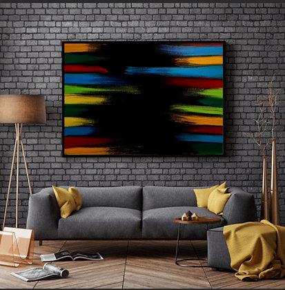 ציור צבעוני תלוי בסלון