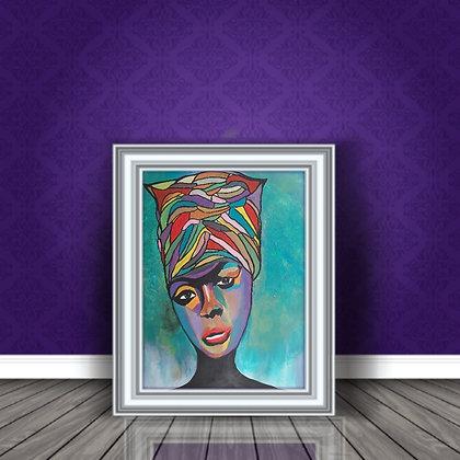 אישה במטפחת צבעונית