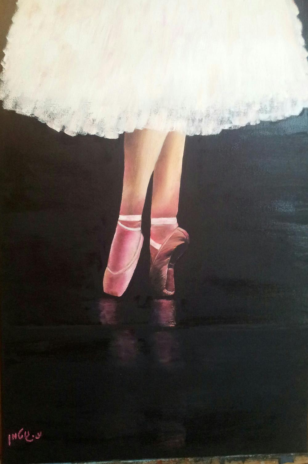 ציור של רגלי בלרינה בנעלי באלט וורודות