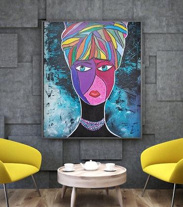 אישה צבעונית בסלון צהוב הדמיה