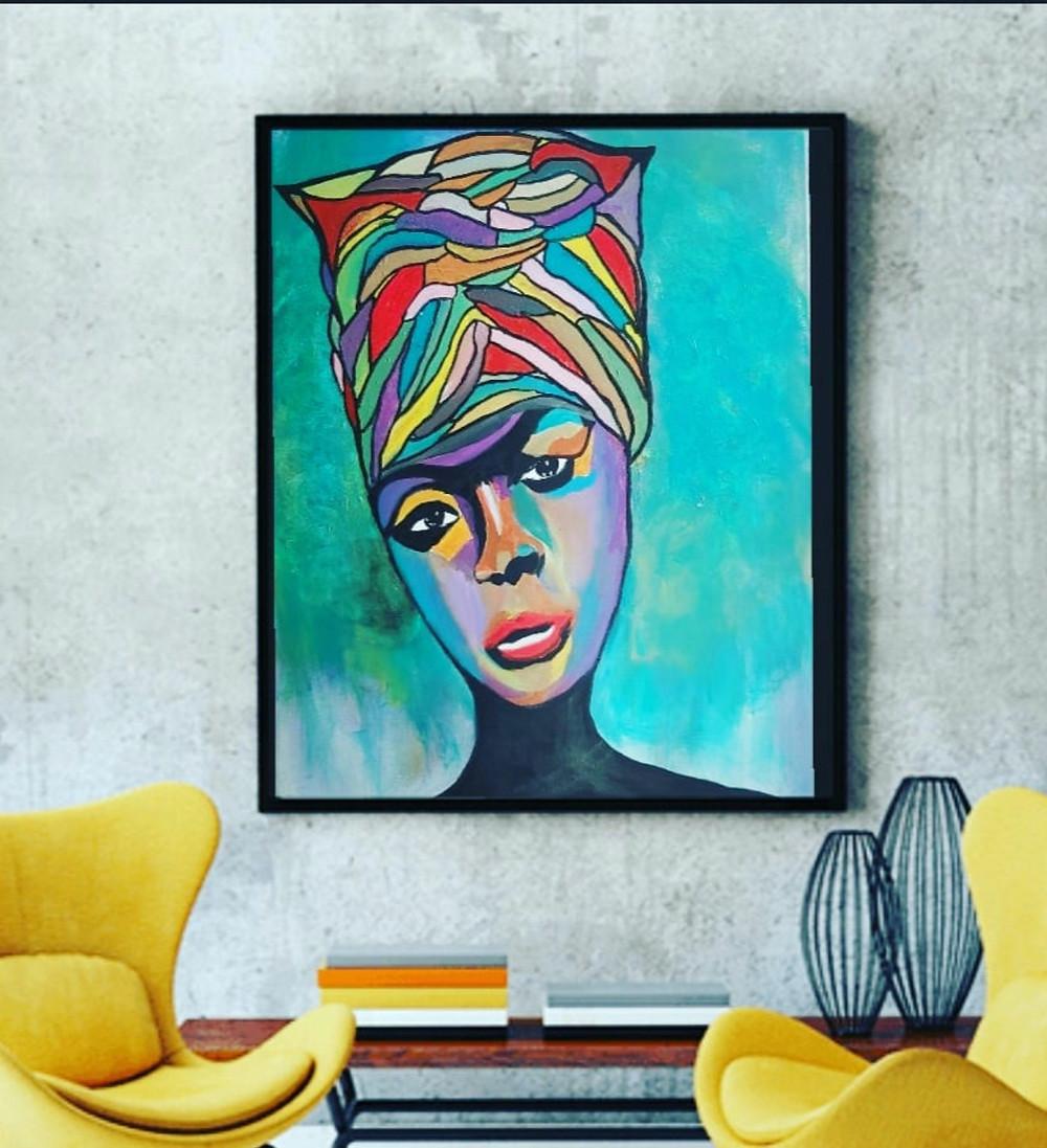 ציור מודרני צבעוני של נינה סימון