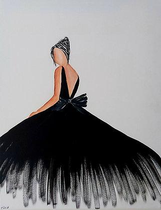 ציור של אישה בשמלה שחורה