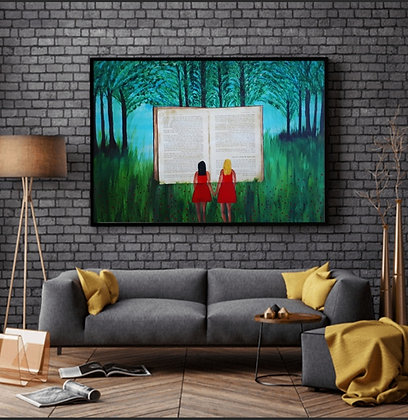ציור מודרני של שתי ילדות בשמלה אדומה ביער, עם ספר