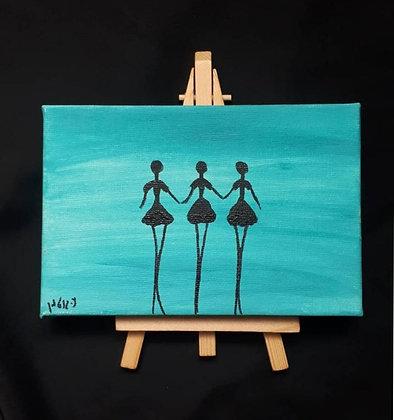 רקדניות על רקע תכלת