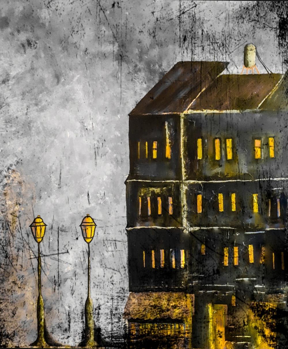 העיר באפור, ציור בצבעי אקריליק על בד