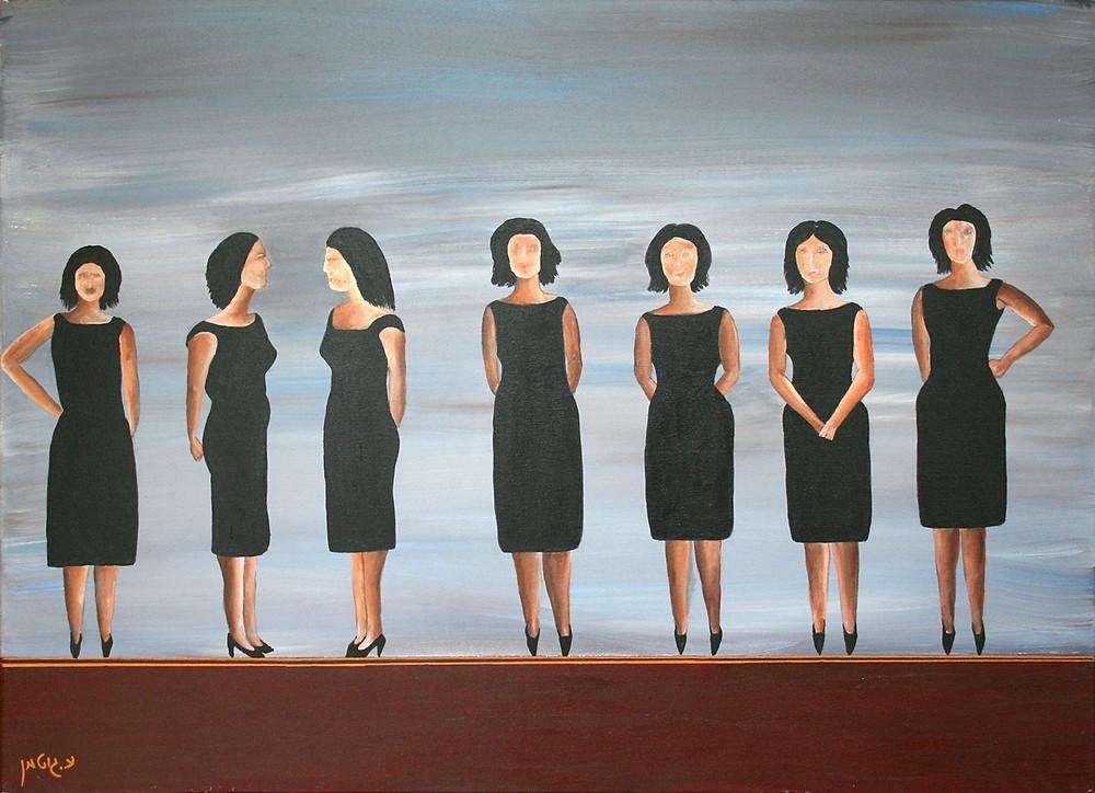 ציור של  נשים בשמלה שחורה אלגנטית