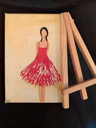 ציור של אישה בשמלה אדומה