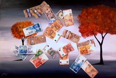 ציור של עצים כתומים, ועל זה שטרות כסף