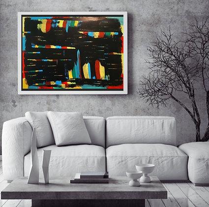 ציור צבעוני על רקע שחור