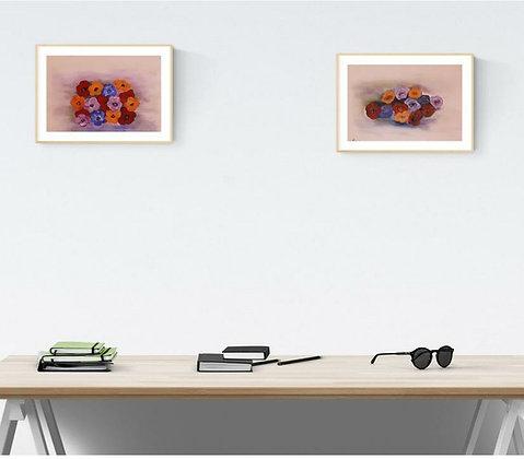 סט של שני ציורי פרחים  צבעוניים