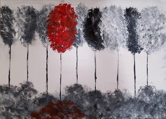 ציור של עצים בשחור לבן