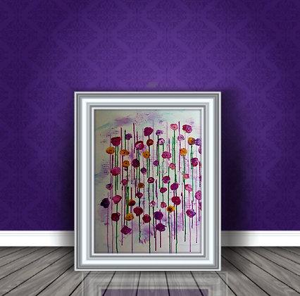 ציור מודרני של פרחים ורודים