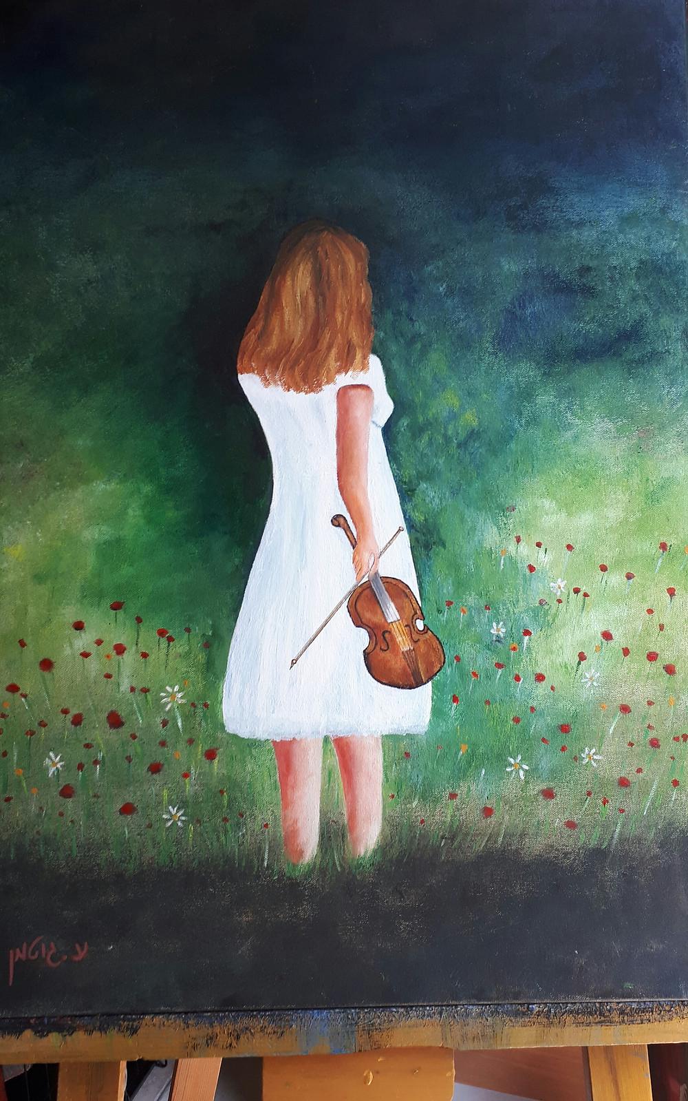 ציור של נערה בשמלה לבנה וכינור