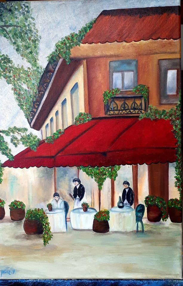 ציור של בית קפה פריזאי