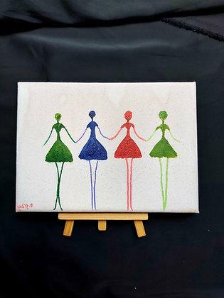 ציור של רקדניות צבעוניות