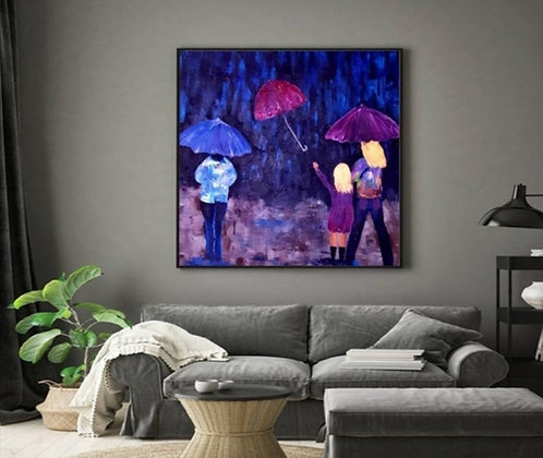 נשים בגשם עם מטריות