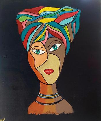 אישה  במטפחת צבעונית על הראש
