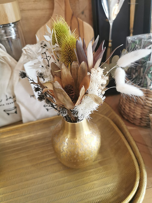 Mini Preserved bouquet with brass vase