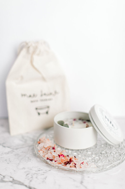 Botanical Candle and Mae Laine Bath Bundle