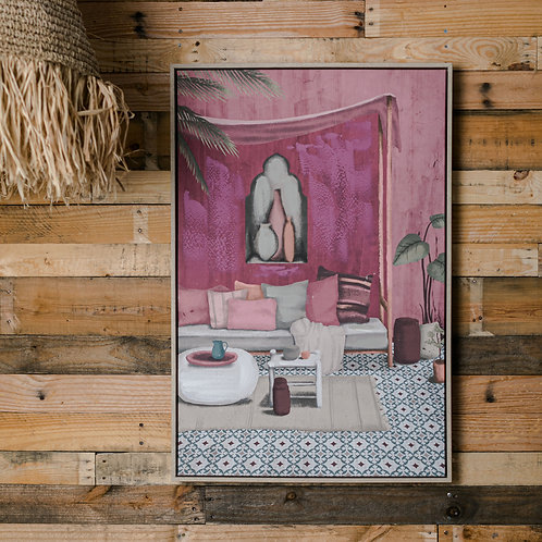 Pink living framed canvas