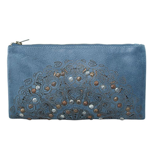 Blue wash LEATHER wallet