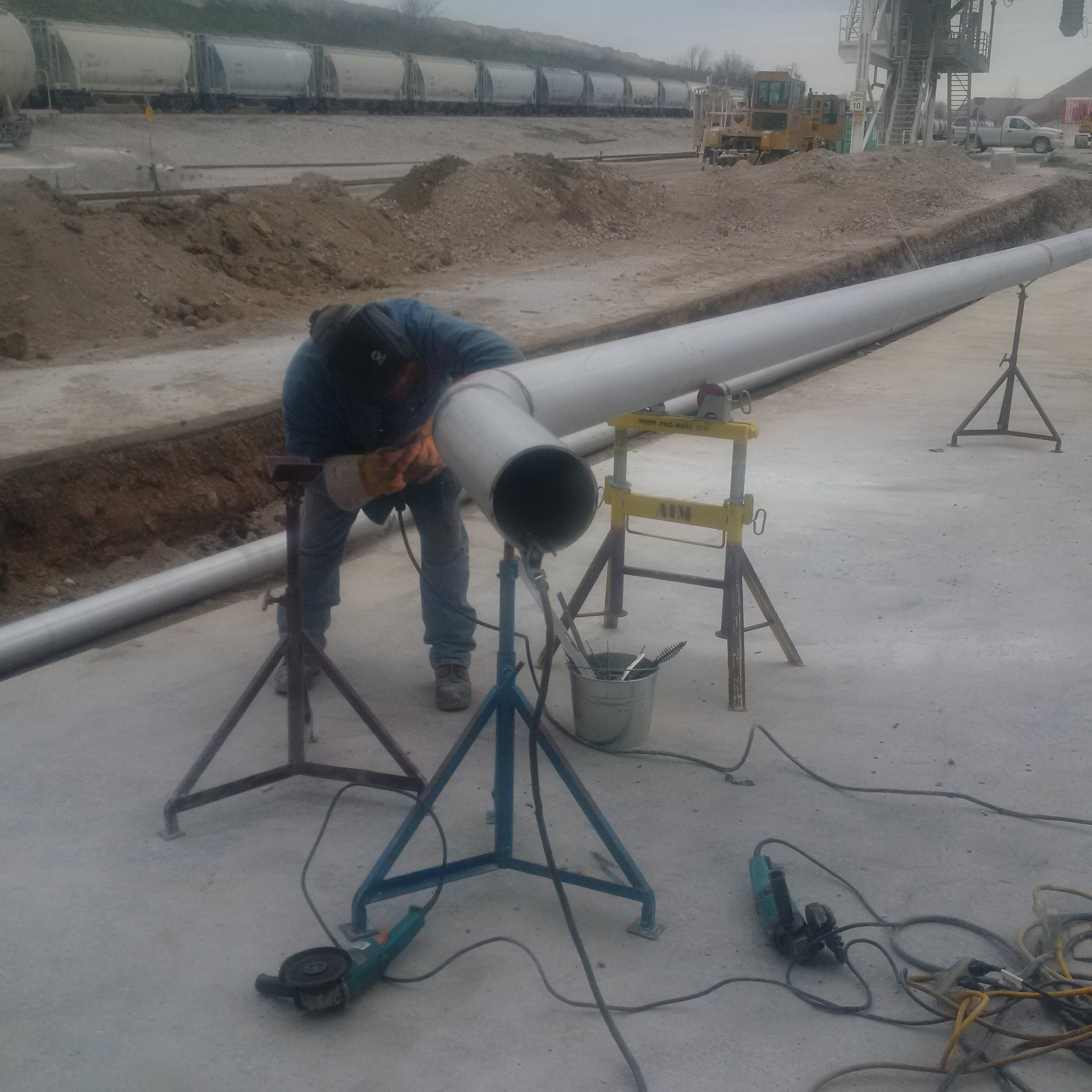 On site pipe fabrication