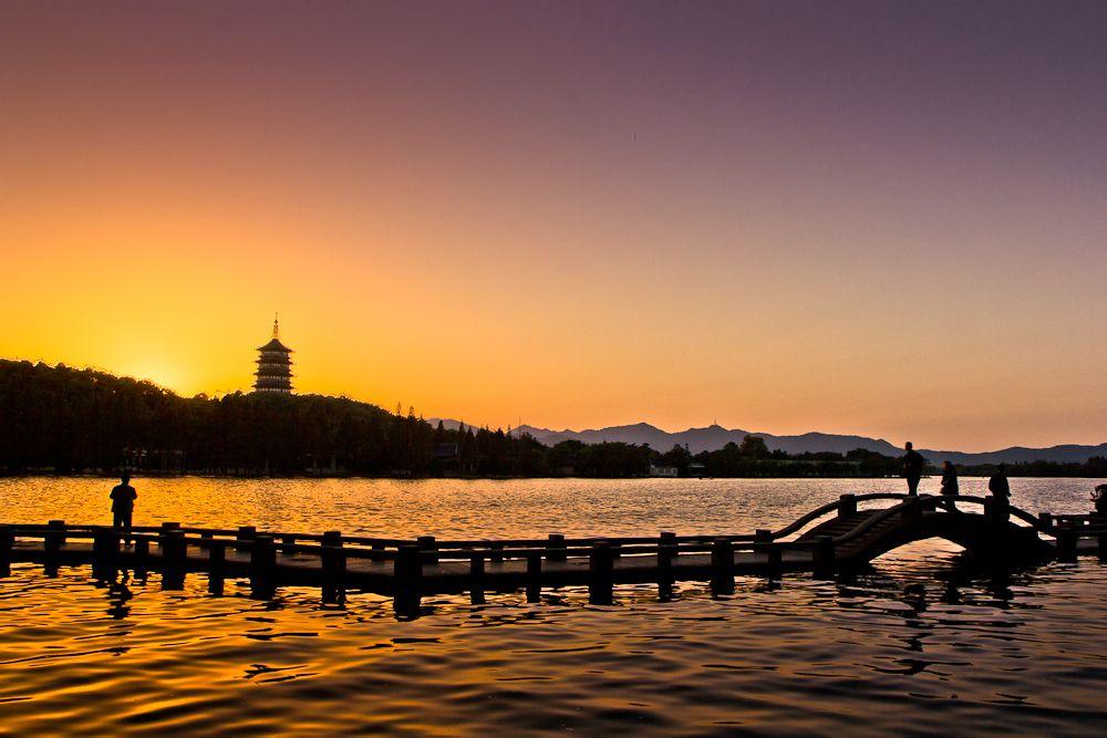 Tower under sunset