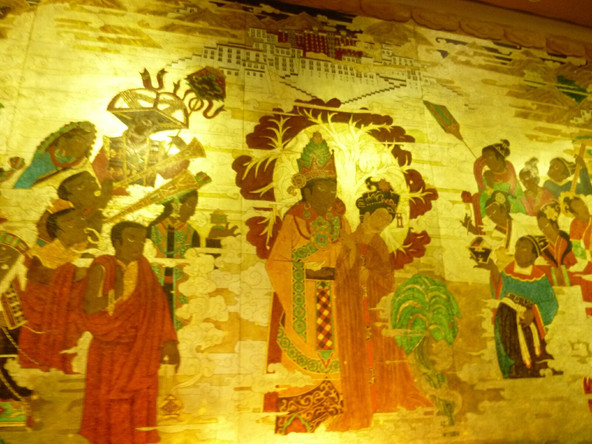 Fresco Inside the Potala Palace The First King of Tibet and His Queen the Princess of Tang