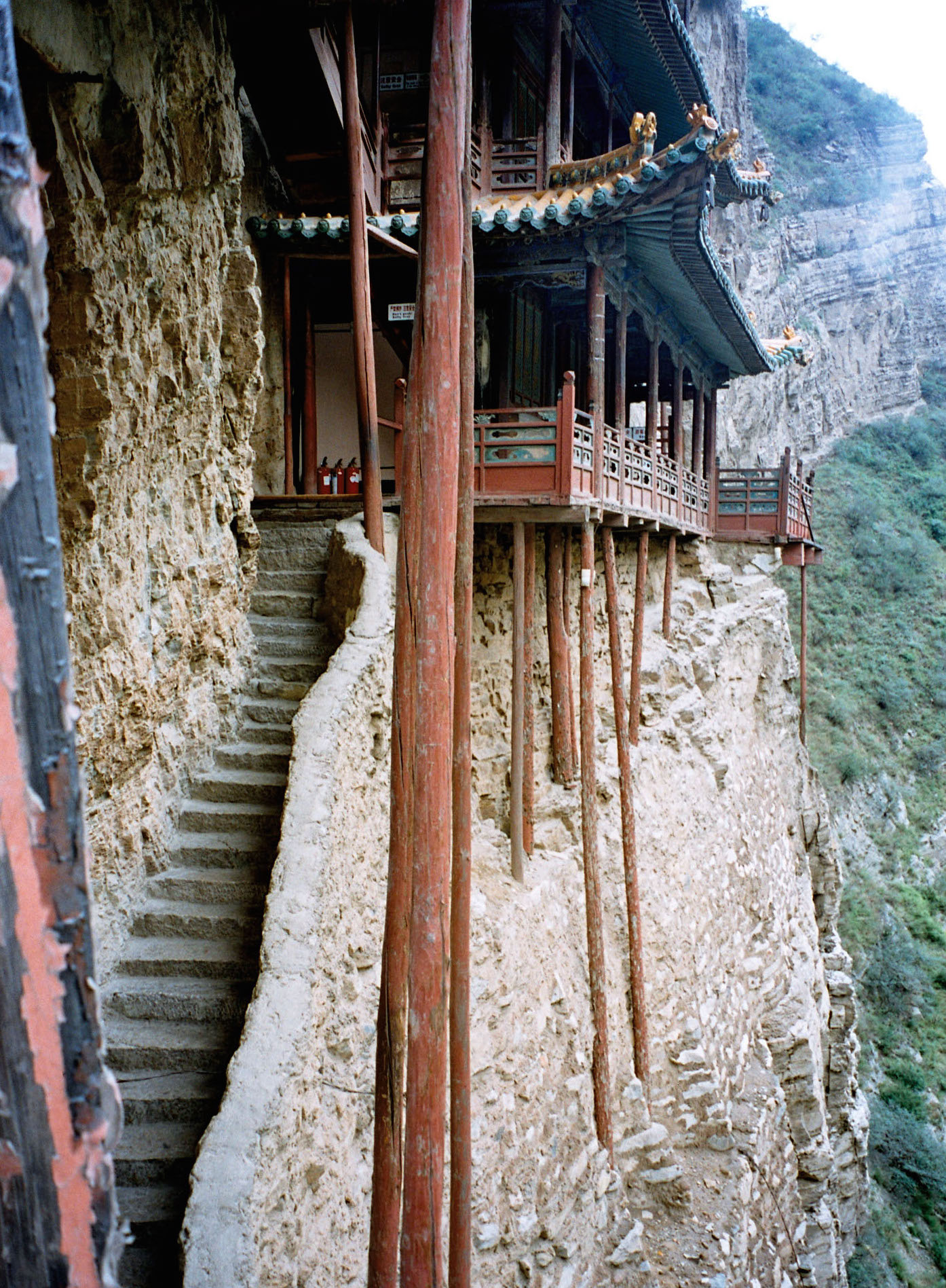 Stairs to cliff temple