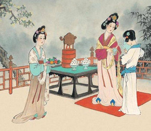 Ancient Chinese women serving food in certain orders in Tradition of China