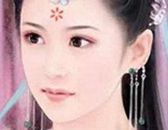 Woman wearing Hua Dian the decoration between eyebrows