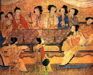 Ancient Chinese women sitting in certain orders in Tradition of China