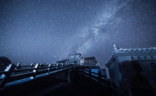 Night view of palace on peak