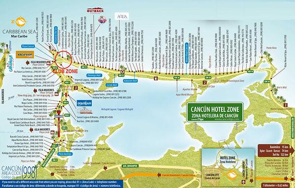 Cancun hotel zone  club zone map