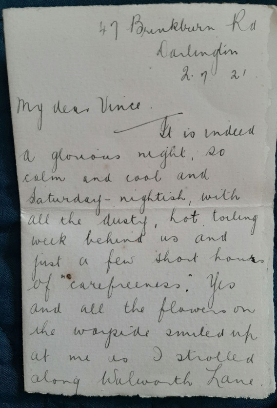 Letter to Vincent from Alice, 2nd July 1921