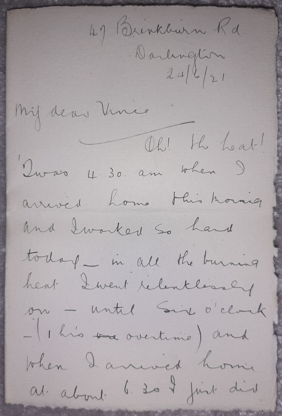 Letter to Vincent from Alice, 20th June 1921