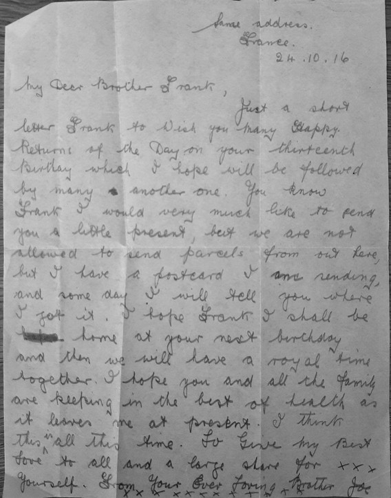 Letter from Joe to younger brother Frank.