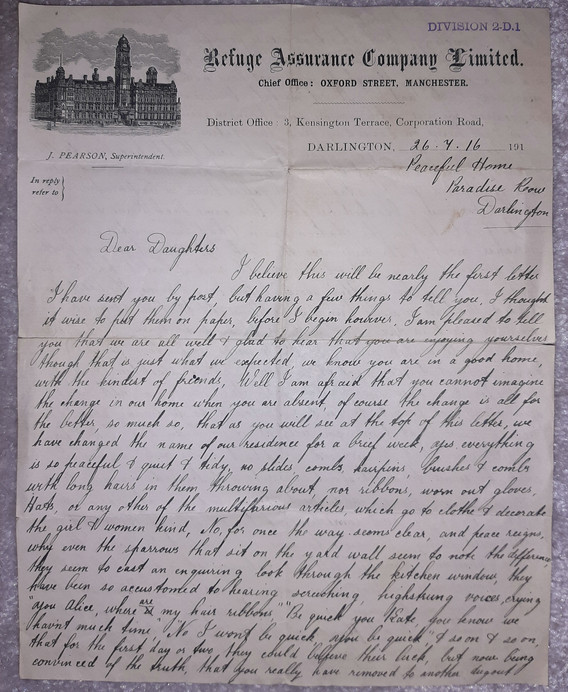 Letter from Father to Alice and Kate