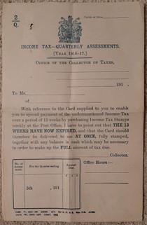 1916-1917 Income Tax Quarterly Assessment