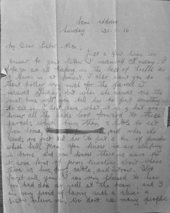 Letter from Joe to Alice, Jan 1916