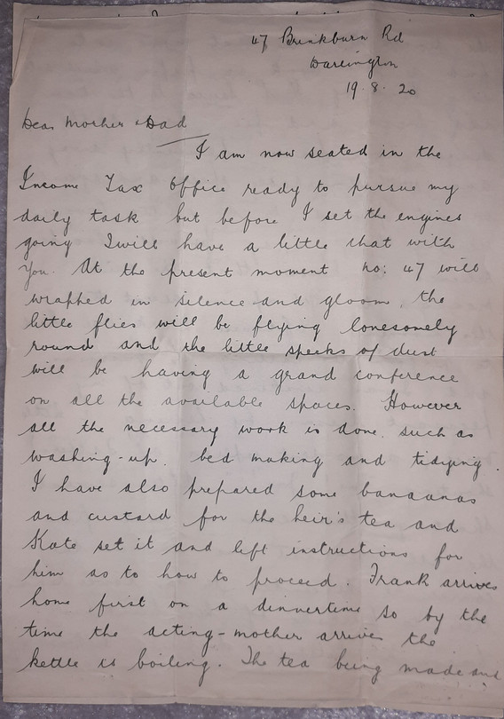 Letter from Alice to Mother and Father