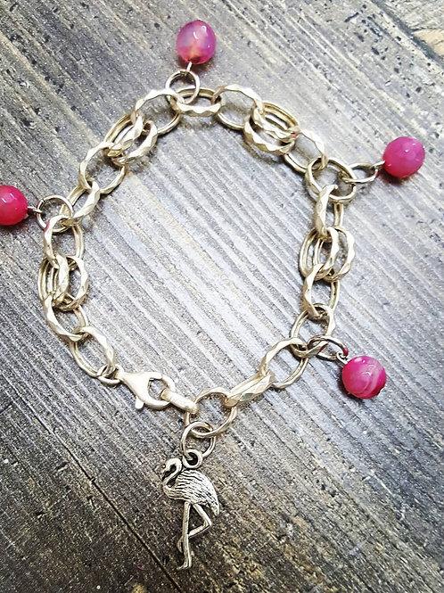 bracciale donna in argento 925 con pendente e perline in giada