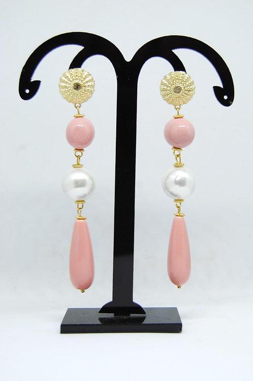 pendenti rosa e perle