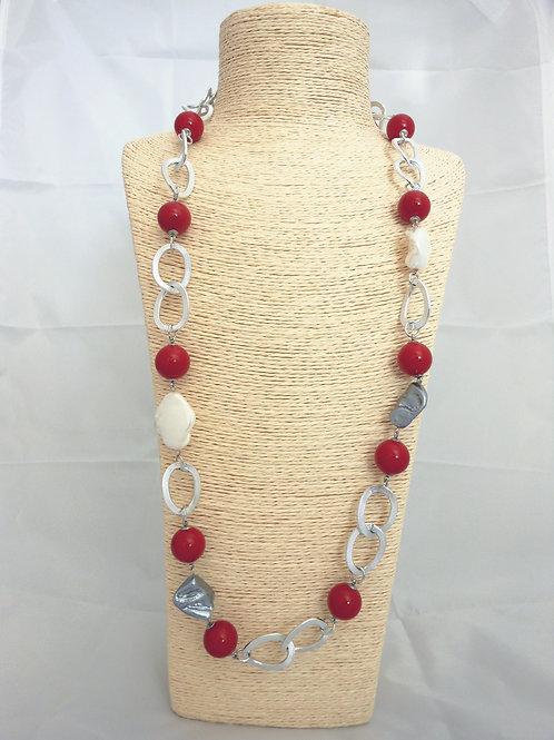 Collana rossa e madreperla