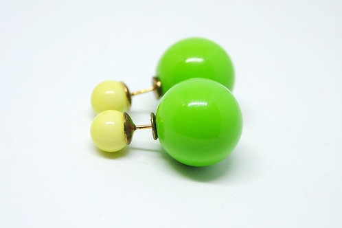 orecchini colorati doppia perla stile dior