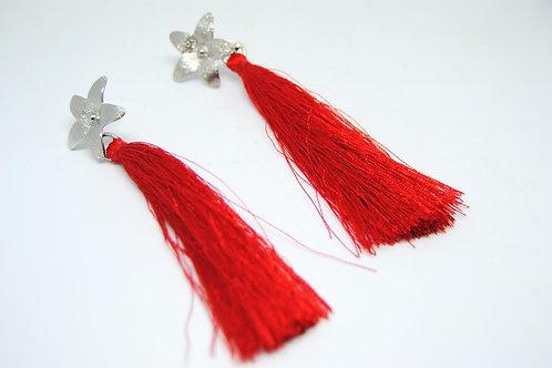 orecchini nappina rossa