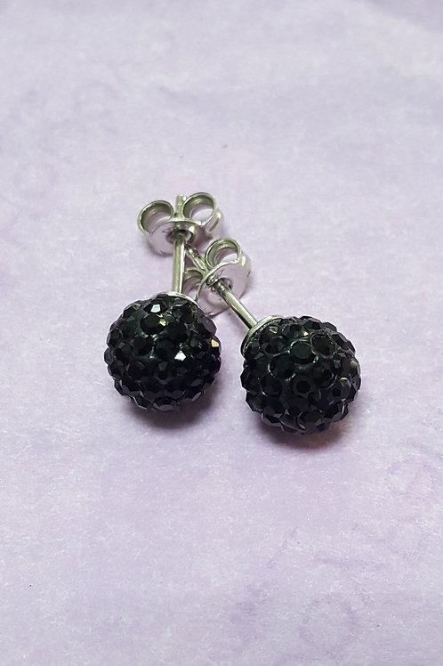 orecchini a perno in argento e palline con zirconi neri