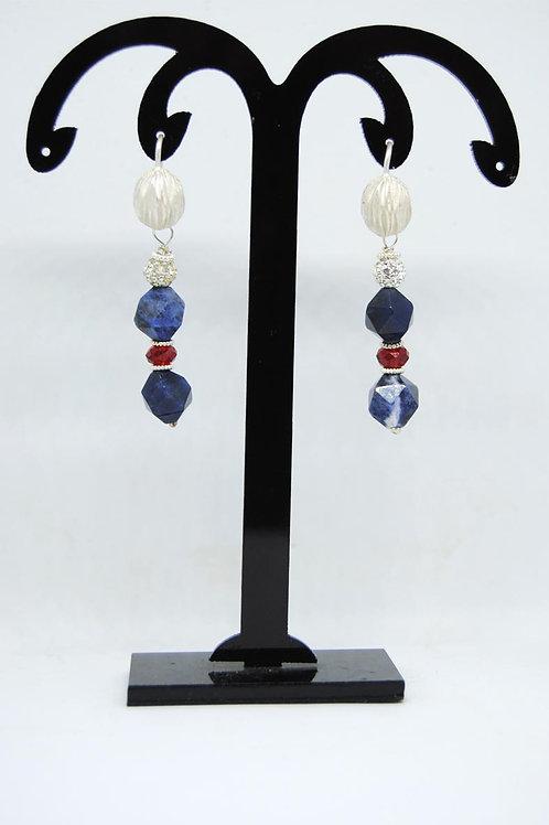 orecchini pendenti in rodonite e argento